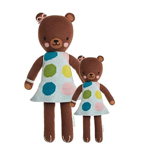 """CUDDLE + KIND Ivy The Bear Little 13"""" Hand-Knit Doll - 1 Doll = 10 Meals, Fair Trade, Heirloom Quality, Handcrafted in Peru, 100% Cotton Yarn from CUDDLE + KIND"""