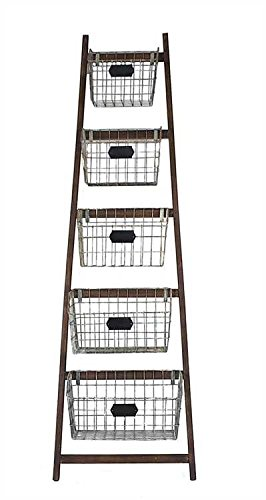 wood ladder with 5 wire baskets - 1