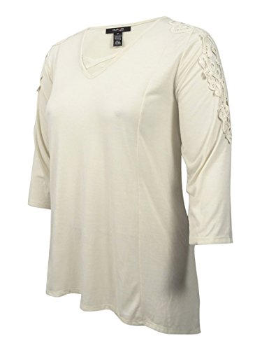 Style & Co. Womens Plus Crochet Trim Long Sleeves Casual Top Ivory 2X from Style & Co.