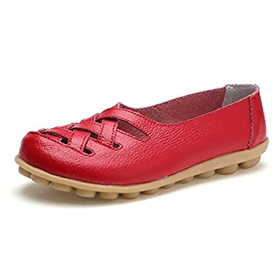 More Colors VIMISAOI Womens Concise Flat Slip-on Shoes Cut Out Weaving Genuine Leather Loafer Shoes