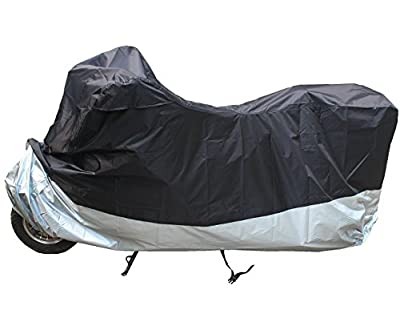 LotFancy Motorcycle Cover - All Weather Deluxe Waterproof Bike Tarp for Scooter Moped Cruiser etc.