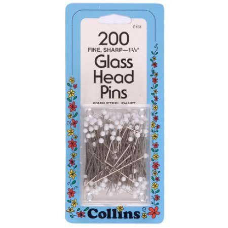 Glass Head Pins by Collins - 200 Ct. by Collins