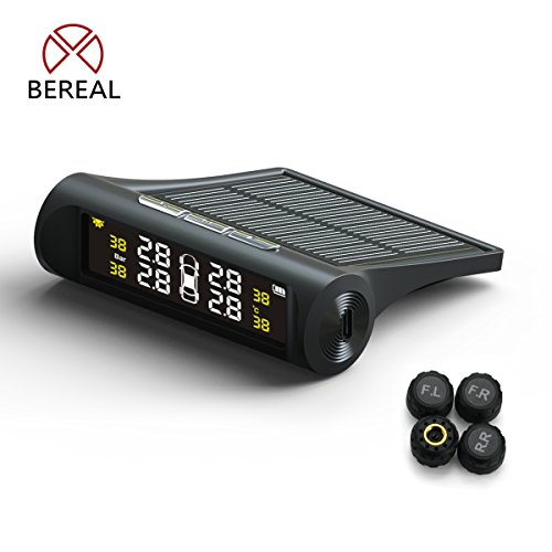 Bereal Solar TPMS Tire Pressure Monitoring System Wireless TPMS with LCD Color display/4 External/Internal Sensors for Car (External)