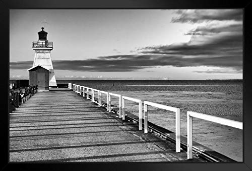 - Old Fashioned Lighthouse End of Pier Ocean Water Clouds Black and White Photograph Framed Poster 20x14 inch