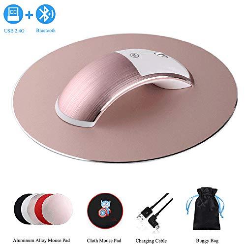 Hi-azul Dual Modes (USB 2.4G+Bluetooth) Wireless Mouse Ergonomics Rechargeable Wireless Mouse Bluetooth Mouse Aluminum Alloy Noiseless Mouse (Rose Gold)