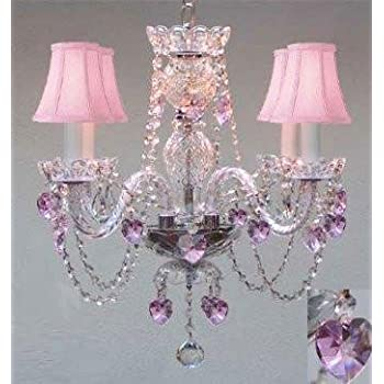 Chandelier Lighting W Crystal Pink Shades Amp Hearts H 17
