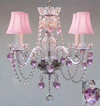 CHANDELIER LIGHTING W CRYSTAL PINK SHADES HEARTS H 17 – PERFECT FOR KID S AND GIRLS BEDROOM W 17