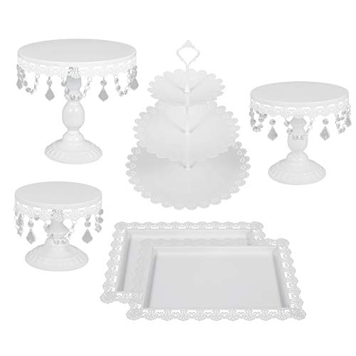 Happybuy 6 PCS Antique Metal Cake Stand Set with Crystal Pendants and Beads 3-Layer Tower Cake Plate Rectangle Cake Pans Round Dessert Holder Cupcake Stands for Party Wedding Birthday (6PCS, White) ()