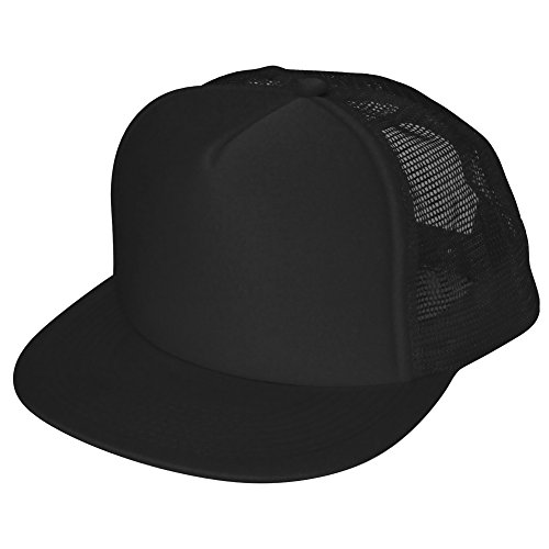 Flat Billed Trucker Cap with Mesh Back in Black -