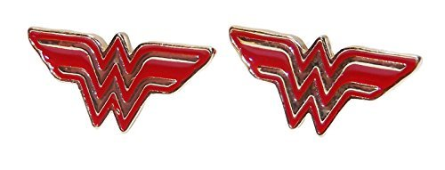 DC Comics WONDER WOMAN W Logo Red/Gold Stud EARRINGS]()