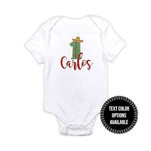 1 pc custom name number sombrero fiesta 100% COTTON short sleeve babysuit bodysuit for first birthday toddler boy girl orange green glitter -