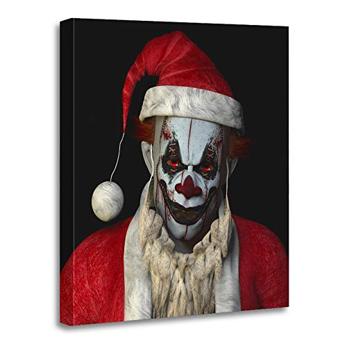 Emvency Painting Canvas Print Artwork Decorative Print Wooden Frame Christmas Scary Santa Clown Glaring at You Black Creepy Evil Horror Eyes 16x20 Inches Wall Art for Home -
