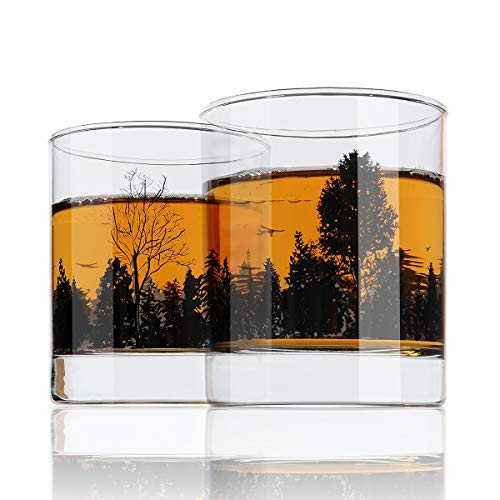 Whiskey Glass Set of 2 Forest Landscape Old Fashioned Whiskey Tumbler 11OZ Heavy Base for Scotch Bourbon Cocktails Gifts for Men Women Dad Yurnero