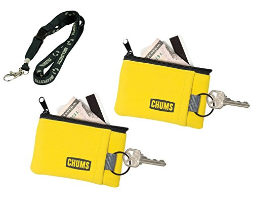 Chums Floating Marsupial Wallet Outdoor Keychain Sports Floatable Wallet | Great for Boat, Beach, and Water Sports | 2pk Bundle + Lanyard