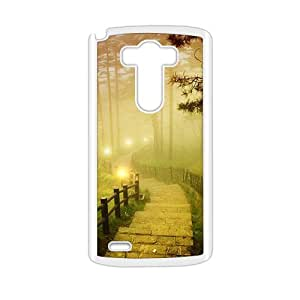 Personalized Clear Phone Case For LG G3,misty forest and light stairs