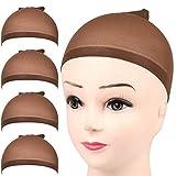 FANDAMEI 4 pieces Dark Brown Stocking Wig Caps