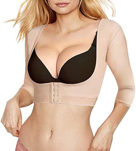Bingrong Women Upper Arm Shaper Body Compression Sleeves Post Surgical Slimmer Humpback Posture Corrector Tops Shapewear