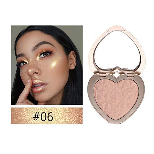 yiitay Highlighter Makeup Eyeshadow Contour Shadow Makeup High Gloss Concealer Shimmer Highlight Powder Face Bronzer Create 3D Face Brighten Skin for Eyes & Lip & Cheek & Nose, Portable Heart-Shaped