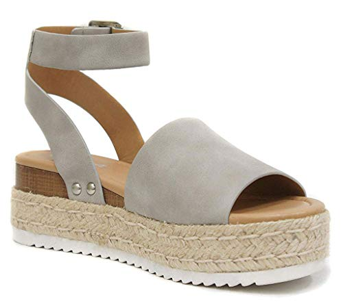 Soda Topic Grey Casual Espadrilles Trim Rubber Sole Flatform Studded Wedge Buckle Ankle Strap Open Toe (7.5)