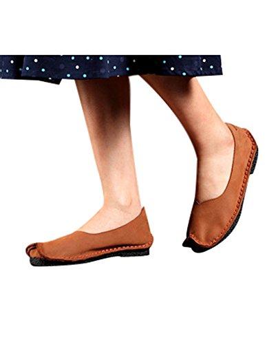 Youlee Mujeres Hecho a mano Cuero Plano Zapatos Marrón