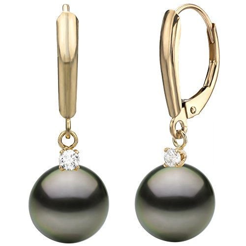 14k-Yellow-Gold-10tcw-diamond-Black-Tahitian-Cultured-High-Luster-Pearl-Lever-back-Earrings