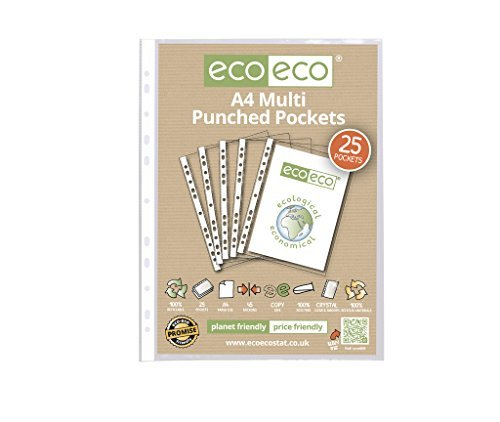 (eco-eco A4 100% Recycled Smooth Glass Clear Punched Plastic Pockets x 25 by)