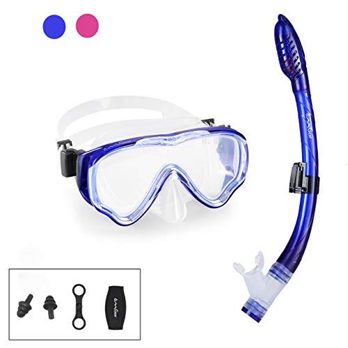 Kid Snorkel Set Snorkeling Gear Dive Mask Snorkel Diving Goggles Dry Top Anti-Fog Anti-Leak Panoramic View Easy Breathing Swim Gear Neoprene Mask Strap Cover Scuba Swimming Underwater(Blue-Kid