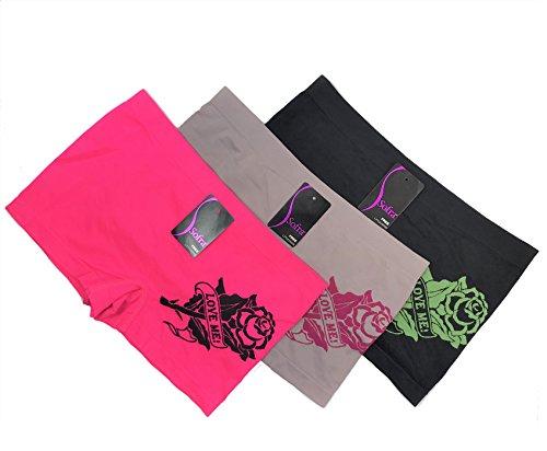 Sofra 3 Pack Stretchy Seamless Boyshorts Panties for Women in Various Sassy Styles (Loveme.B-3pk) (Sassy Panties)