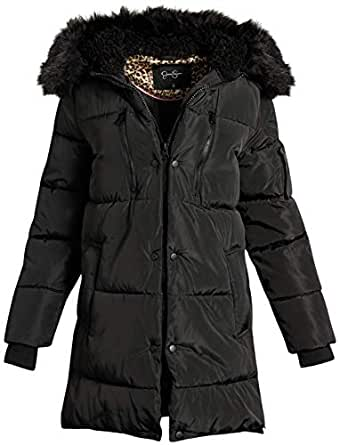 Jessica Simpson Women's Nylon Puffer Long Jacket with Fur Lined Hood, Size Small, Black'