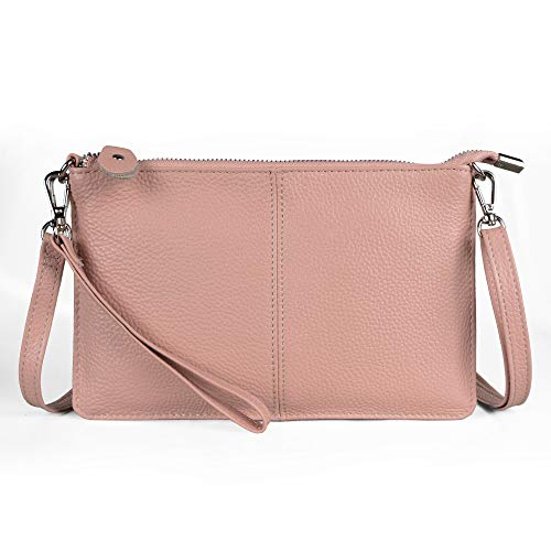 Clutch Blush - Befen Women's Leather Wristlet Clutch Phone Wallet Small Crossbody Purses and Hangbag with Card Slots - Blush Pink