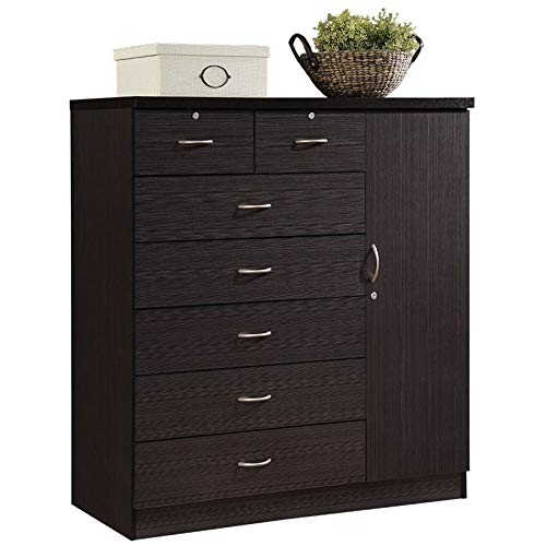 (Pemberly Row Tall 7 Drawer Chest with 2 Locking Drawers and Garment Rod or Extra Storage in Chocolate Brown)