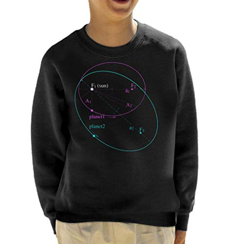 Maths and Science Keplers Law of Planetary Motion Kid's Sweatshirt Black (Kepler 3 Laws Of Planetary Motion For Kids)