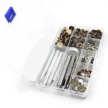 Malayas® 80 Snaps Metalicos Botones a Presion Remaches + 13 Herramientas para Fijar Broches Botones a Presion Remache 655, 633, 831, 201 Perforar ...