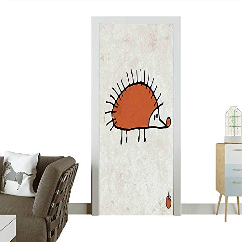 (Door Sticker Wall Decals Cute Hedgehog Design with Latin Words Quote Kids Graphic Artwork Image Dark Orange Easy to Peel and StickW38.5 x H79)