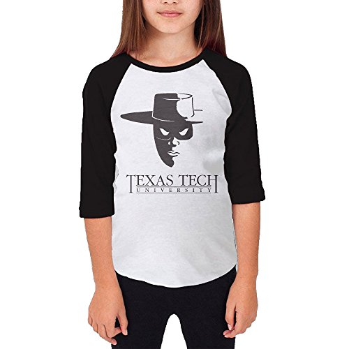 Price comparison product image Amone Young Girl 3/4 Sleeve Raglan Texas Tech Famous Person Tee Black M