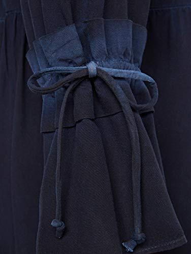 mit am BLUE by Blau Kleid Rüsche Ärmel Damen Fließend CONLEYS qXR6wdt6