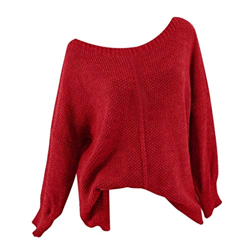 Sunhusing Women's Knitted Long Sleeve Solid Color Casual Sweater Top Off-Shoulder O-Neck Loose Pullover Jumper