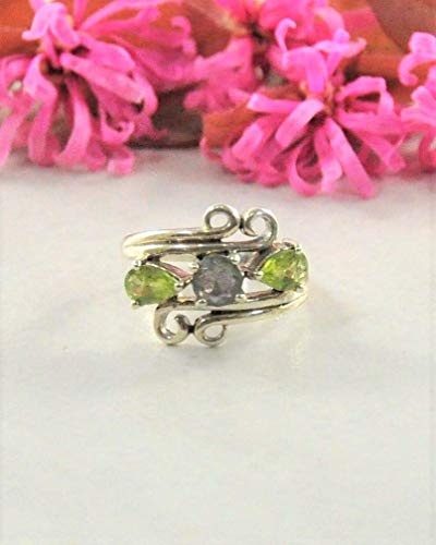 SIVALYA Designer Peridot and Labradorite Ring in 925 Sterling Silver -Size 6 - Gift for Women