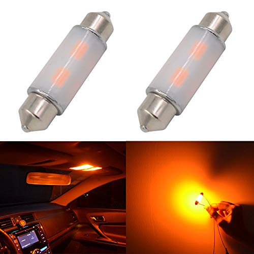 39mm(1.54) Calais Extremely Bright SAMSUNG-5630 Chipset Canbus Error Free Amber LED Festoon Bulbs for Interior Car Lights License Plate Dome Map Door Courtesy Bulb Amber (Pack of 2)