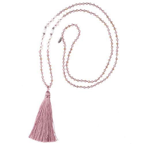 KELITCH New Pearl Crystal Beaded Necklace Handmade Pearl Strand Necklace Long Tassels Pendants Charm - Beaded Necklace Flowers
