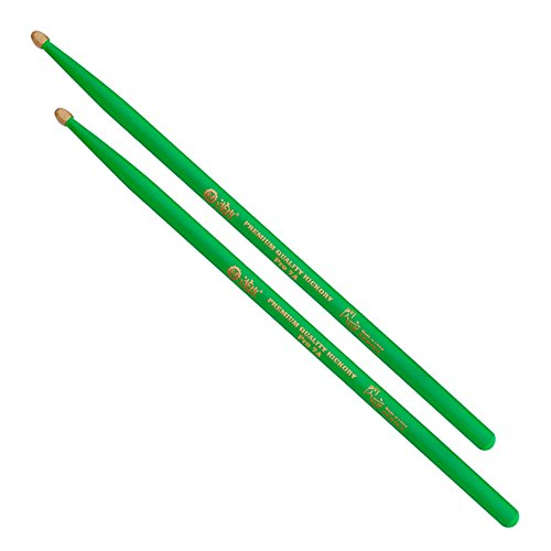 Fluorescent Drum Light Fixture - KATEVO 5A Hickory Drumsticks, Glow in the Dark Drum Sticks for Drummers - Glow Under Stage's Light of Drum Stick, 1 Pair (Neon Green)