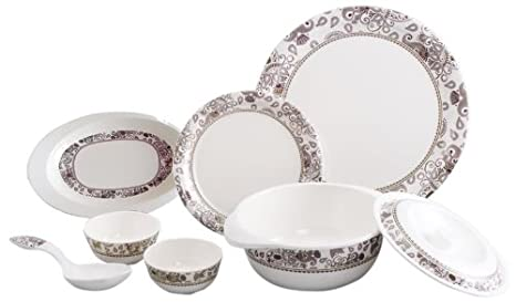 Servewell Royal Paisley Round Dinner Set, 25-Pieces Dinnerware Sets at amazon