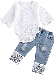 Luiryare Baby Girl Fashion Clothes Embroidered Lace Romper Ripped Jeans Denim Pants Toddler Infant Cute Outfit