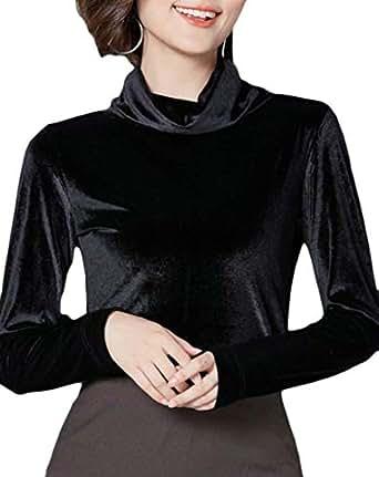Macondoo Womens Long Sleeve Velvet Turtle-Neck Plain Blouse T Shirts Black XS