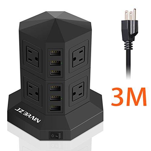 JZBRAIN 8-Outlet 6-USB Power Strip Surge Protector Power Soc