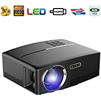 MTFY Video Porjector,1800 Lumens Portable LED Multimedia Mini Home Theater Projector Support HD 1080P HDMI USD SD CARD VGA AV for Outdoor Indoor PC/Laptop/DVD/TV /Video/Photo/Game/Cinema Movie