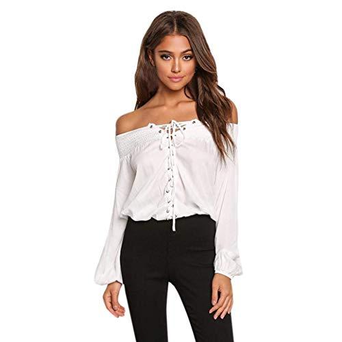 Blanc Blouse Printemps Shirts Manches Style Fille Mode lgant Chemisiers Et Manche Loisir Off Shoulder Long Dames Tendance Carmen Blouse Spcial Haut Uni Jeune ER1qHxBXwx