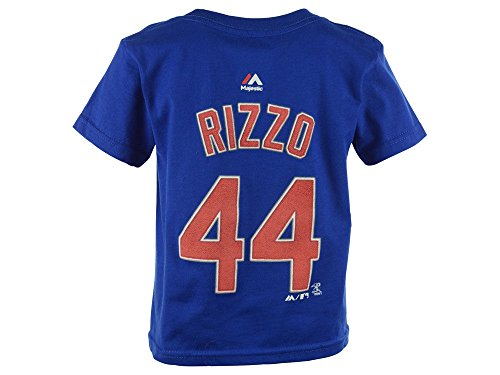 Majestic Anthony Rizzo Kids Chicago Cubs Blue Name and Number Jersey T-Shirt Medium 5-6
