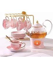 21 Pcs Tea Set of 6 for Girls, Handcraft Pink Porcelain Tea Party Set for Kids/Child, Real Glass Teapot/Tea pot Set with Warmer for Girls, Ceramic/China Tea Cup Set/Tea Gift Set with Shelf & 6 Saucers…