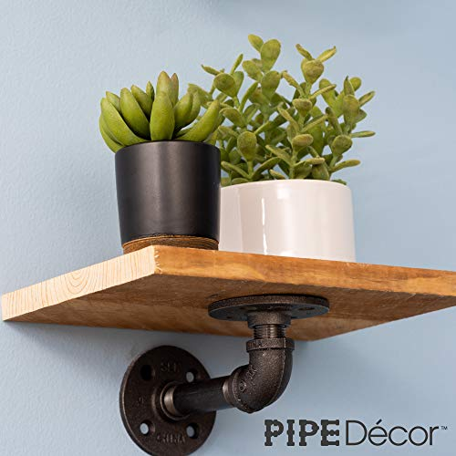 Rustic Pipe Decor Industrial Shelf Brackets – Double Flange Bracket Set of Four, Iron Metal Grey Black Fittings, Custom DIY Floating Shelves, Vintage Furniture Decorations, Wall Mounted (4 Inch Pipe) by PIPE DÉCOR (Image #7)